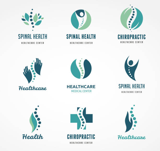 Chiropractic, massage, back pain and osteopathy icons Chiropractic, massage, back pain and osteopathy icons physical therapy stock illustrations