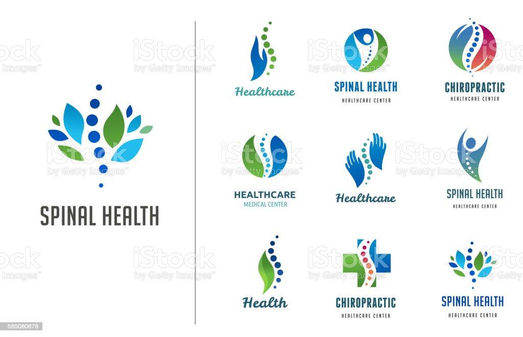 De Quiropraxia de, massagem das costas dor e osteopatia ícones - ilustração de arte em vetor