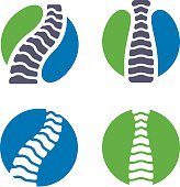 Chiropractic and spine health symbol icons. EPS 10 file. Transparency effects used on highlight elements.