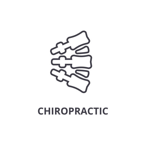 chiropractic thin line icon, sign, symbol, illustation, linear concept, vector vector art illustration