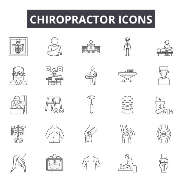 Chiropractor line icons for web and mobile design. Editable stroke signs. Chiropractor  outline concept illustrations vector art illustration