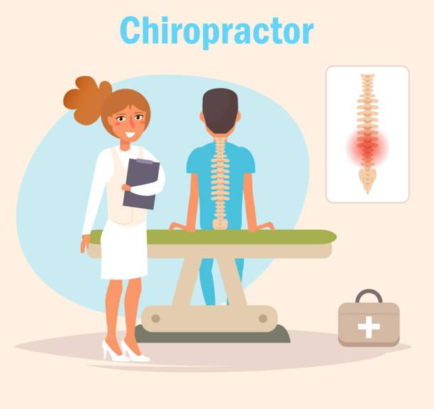 chiropraktiker vektor. cartoon - chiropraktiker stock-grafiken, -clipart, -cartoons und -symbole