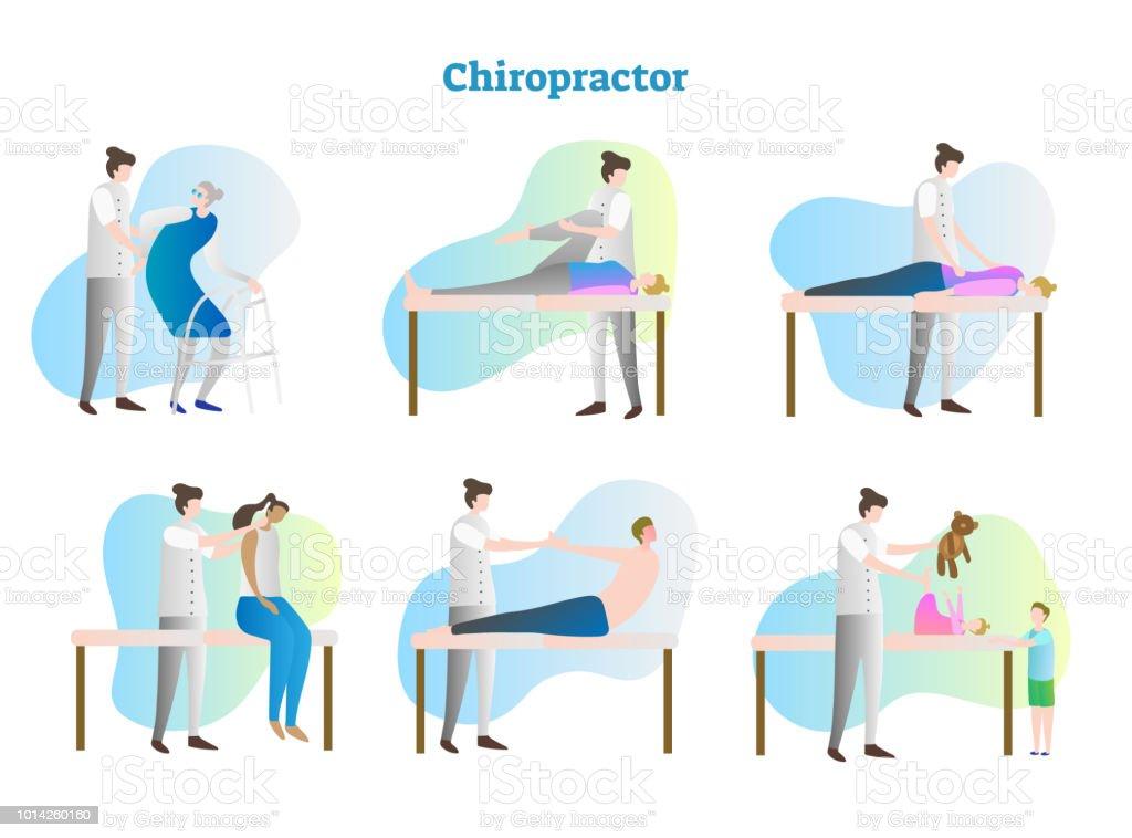 カイロプラクター ベクトル イラスト コレクションを設定します。医師、セラピスト、看護師やマッサージ師試験病人の病院または診療所。孤立した骨と筋肉のリハビリテーション。 ベクターアートイラスト