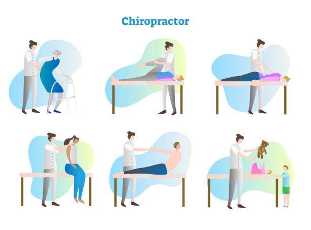 Chiropractor vector illustration collection set. Doctor, therapist, nurse or masseur exam sick person in hospital or clinic. Isolated muscles and bones rehabilitation. vector art illustration