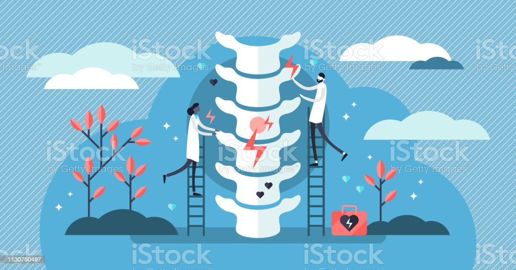 Chiropractor vector illustration. Tiny alternative medicine person concept. vector art illustration