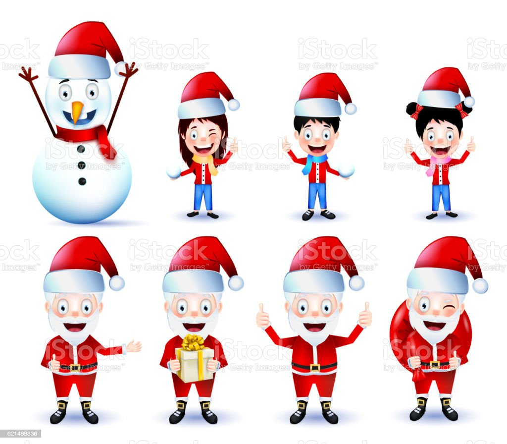 Chirstmas Animated Characters Vector Pack on Isolated Background Lizenzfreies chirstmas animated characters vector pack on isolated background stock vektor art und mehr bilder von advent