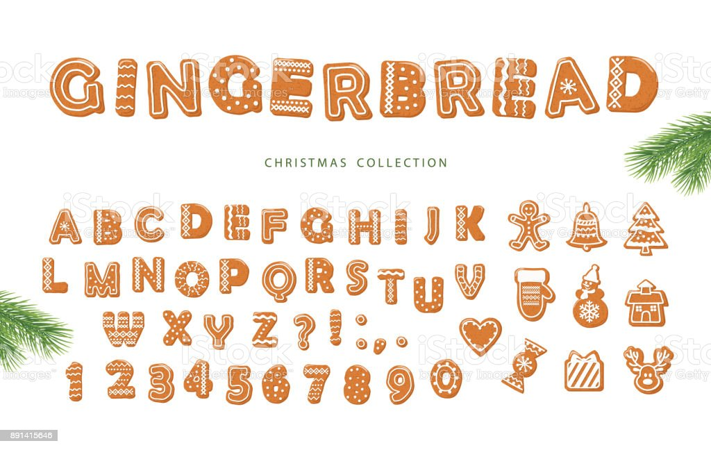 Chirstmas big set. Gingerbread font and cookies collection isolated on white. - Royalty-free Alfabeto arte vetorial