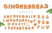 Chirstmas big set. Gingerbread font and cookies collection isolated on white. Vector