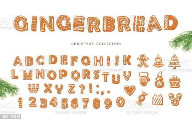 Chirstmas Big Set Gingerbread Font And Cookies Collection Isolated On White - Arte vetorial de stock e mais imagens de Alfabeto