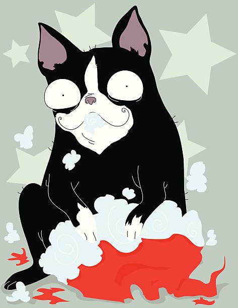 Chirstmas Boston Puppy vector art illustration