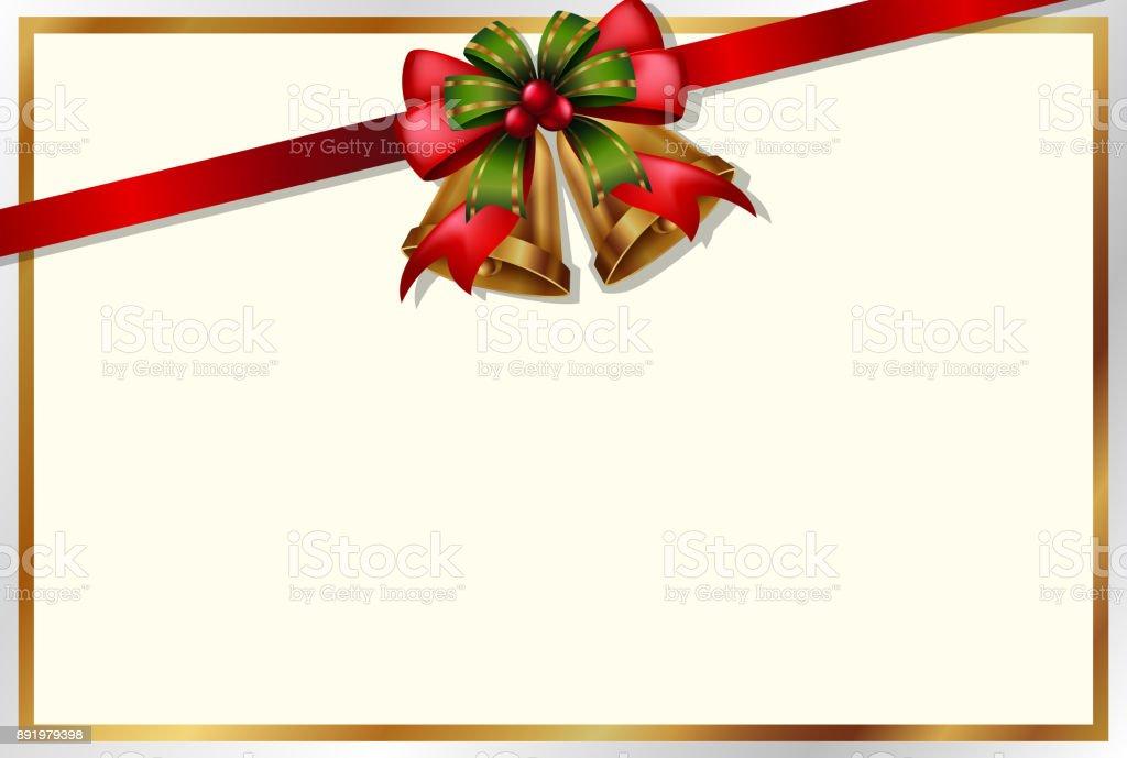 Vetores De Modelo De Cartao De Natal Com Sinos E Fita Vermelha E