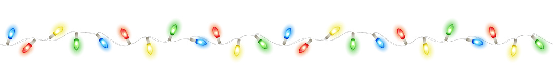 Christmas lights, isolated seamless vector decoration. Good for white, dark or colored background. Holiday border, lamps frame. Winter season illuminated garland. For New Year banners, party posters.