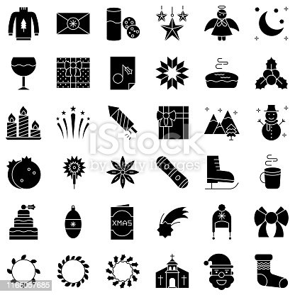 Chirstmas related vector icon set, solid design