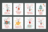 Chirstmas lettering quote. Winter vector poster collection with cute New Year mice.