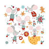 Christmas funny cartoon mouse set in a flat style. Winter vector icon collection with cute New Year mice and decorations.