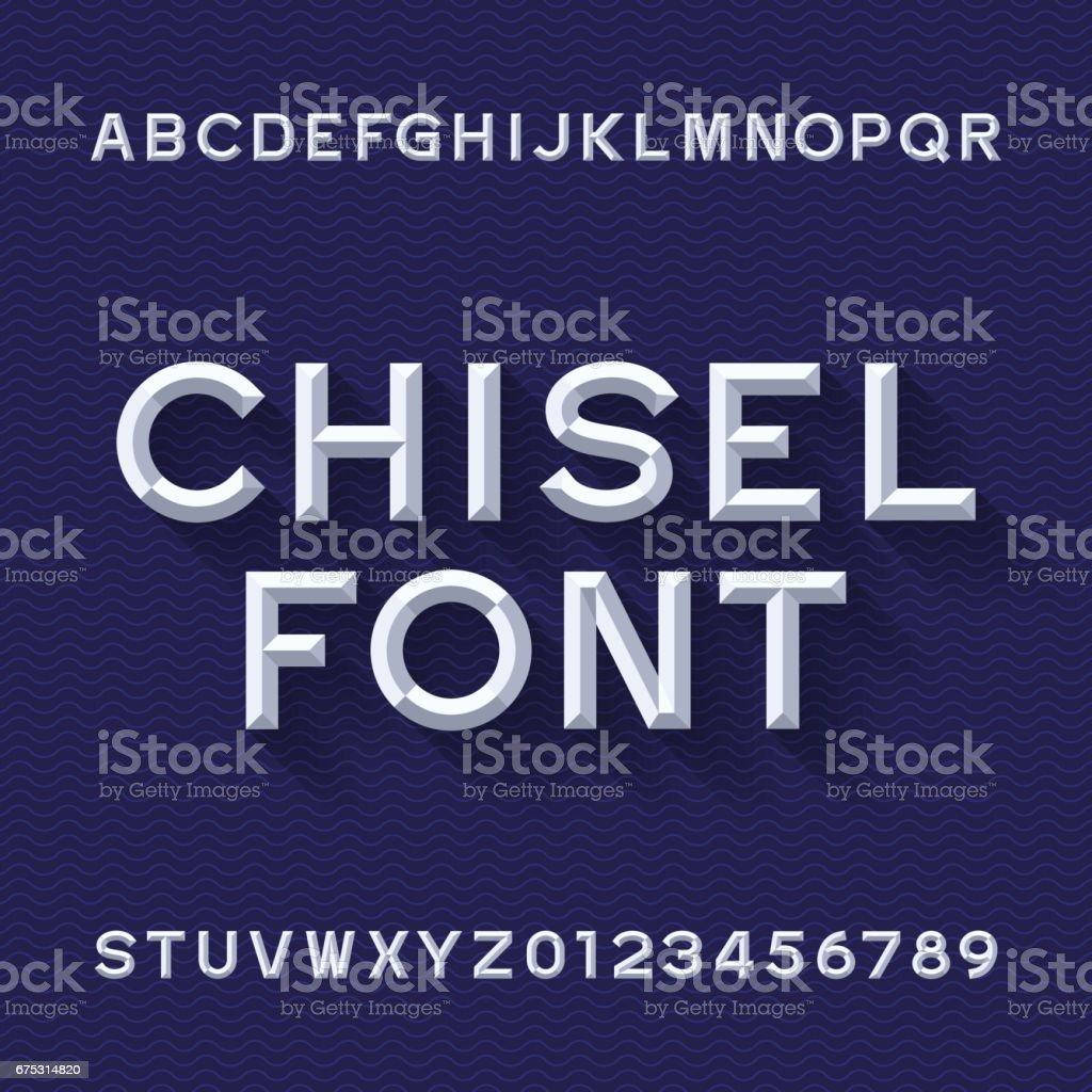 Chisel Alphabet Vector Font. Blue wave background. vector art illustration