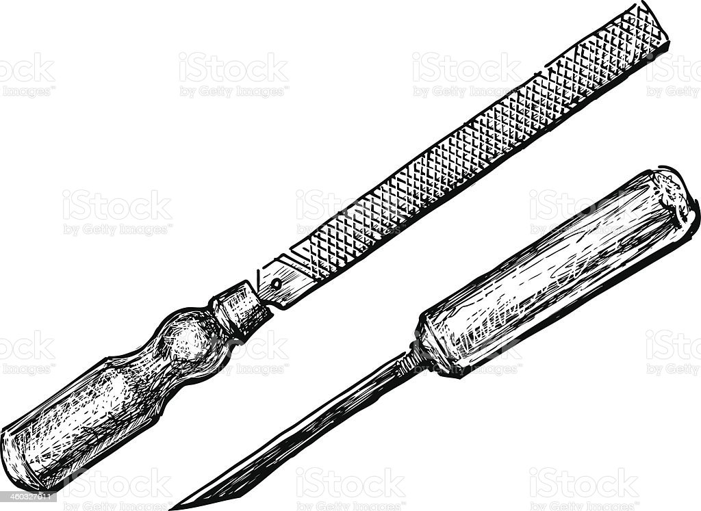 Chisel And File Stock Illustration - Download Image Now ...