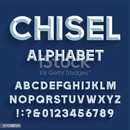 Type letters, numbers and punctuation marks. Chiseled block letters on the blue background.