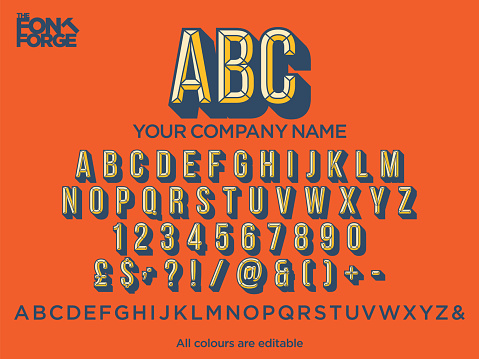 Chiseled drop shadow text style font for your company logo. Vector stock illustration. Colours easily editable.
