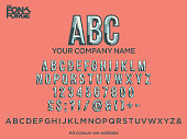 Logo raised character bond shadow style corporate identity logo font design, alphabet letters and numbers. Vector stock illustration.