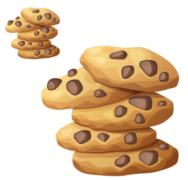 ilustrações de stock, clip art, desenhos animados e ícones de choc chip cookies vector icon isolated on white - bolachas