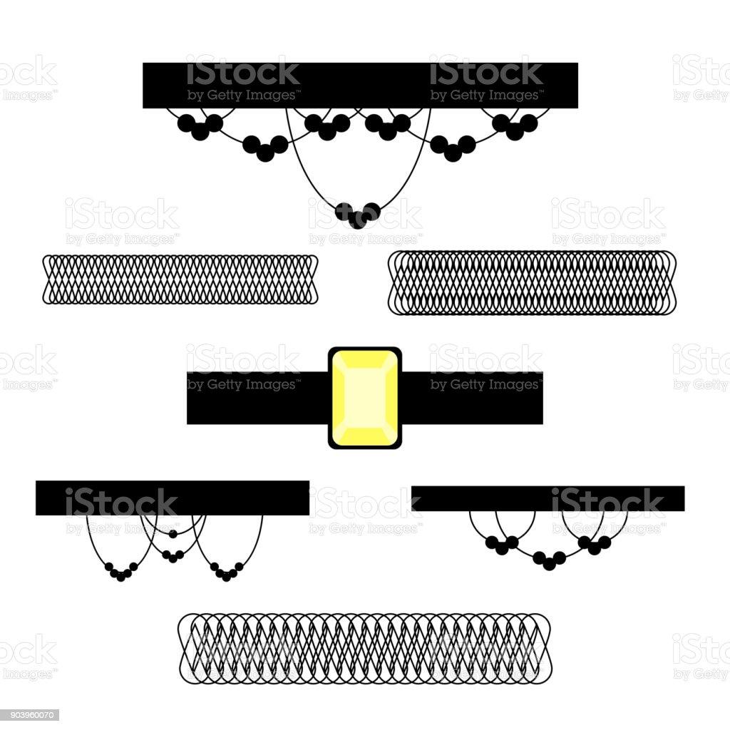 chocker necklace set vector art illustration