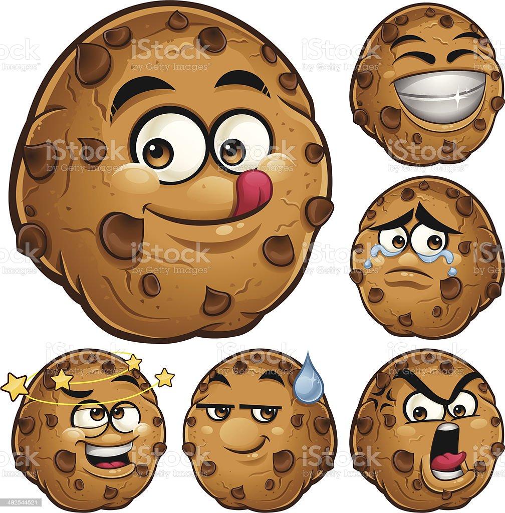 Choco Chip Cookie Cartoon Set A vector art illustration