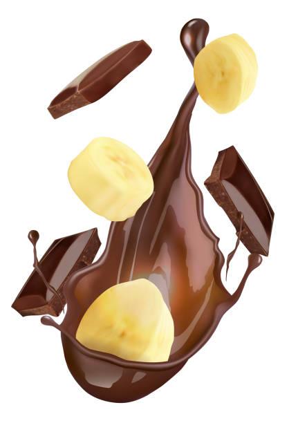 chocolate and banana chocolate and banana love potion stock illustrations