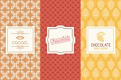 Vector set of design elements and seamless pattern for chocolate and cocoa packaging - labels and background in tredny linear style