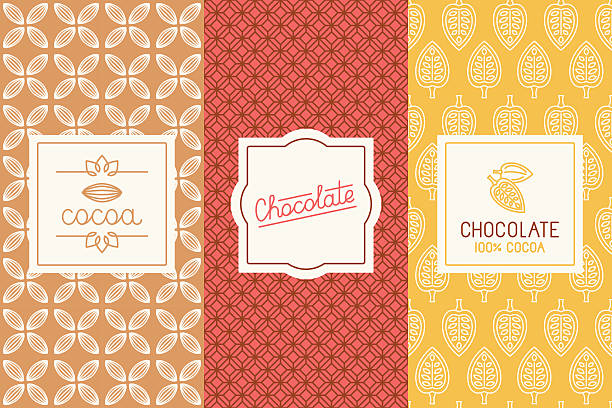 Chocolate and cocoa packaging Vector set of design elements and seamless pattern for chocolate and cocoa packaging - labels and background in tredny linear style candy patterns stock illustrations