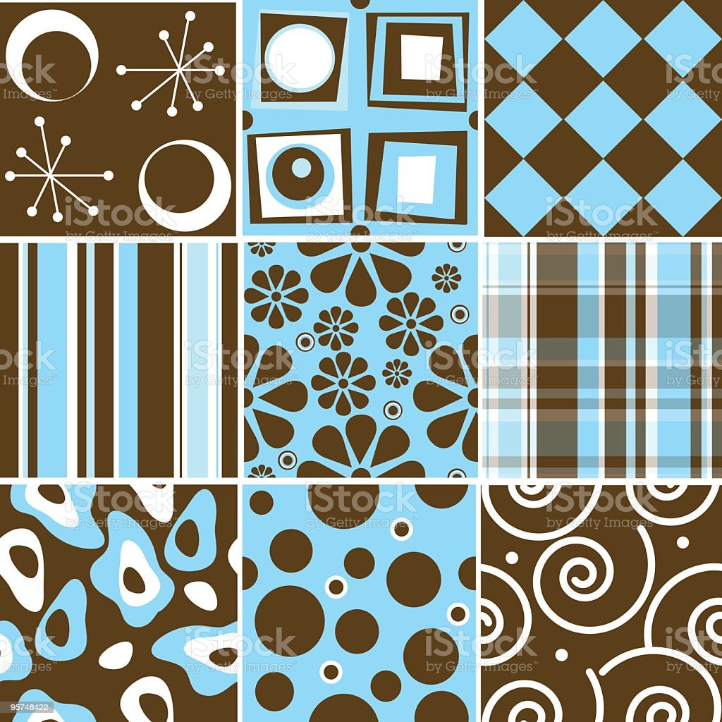 Chocolate and cyan Seamless tile collection royalty-free chocolate and cyan seamless tile collection stock vector art & more images of 1960-1969