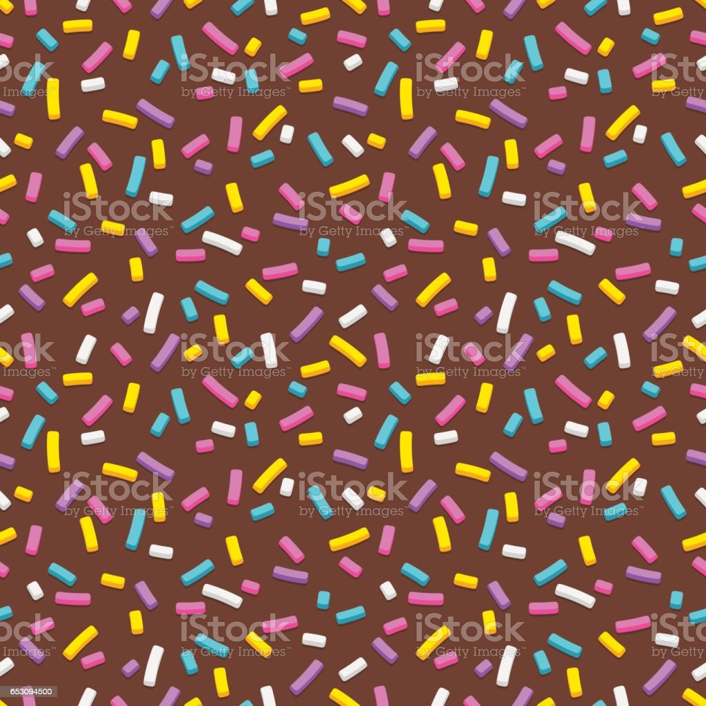 Chocolate and sprinkles seamless pattern vector art illustration