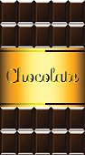 Dark chocolate bar with golden label and text