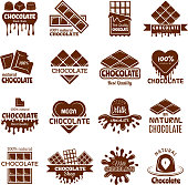 Chocolate badges. Logo design for sweets cacao beans desserts cooking symbols vector concepts. Illustration of chocolate product logo