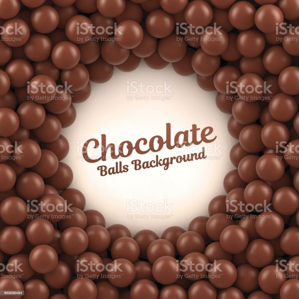 Chocolate balls background vector art illustration