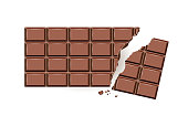 Chocolate bar broken, Dark chocolate, Vector illustration isolated on white background