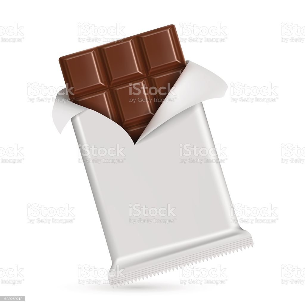 Chocolate bar  isolated on white background vector art illustration