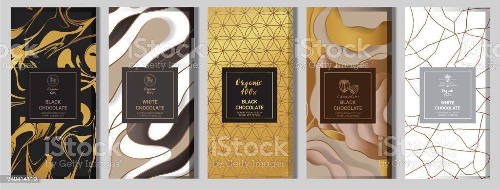Chocolate bar packaging mock up set. elements,labels,icon,frames, for design of luxury products.Made with golden foil.Isolated on flower and brown background. vector illustration