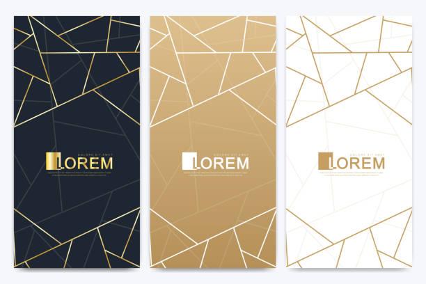 Schokoladenbar-Packungs-Set. Trendige Luxus-Produkt Branding-Vorlage mit Etikettenmuster für Verpackungen. Abstraktes goldenes Paket mit Texturhintergrund und goldenen geometrischen Linien. Vektorabbildung – Vektorgrafik