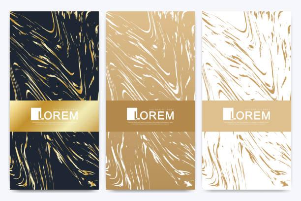 Schokoladenbar-Packungs-Set. Trendige Luxus-Produkt Branding-Vorlage mit Etikettenmuster für Verpackungen. Goldene Packung mit Marmortextur und goldenen geometrischen Linien. Vektorabbildung – Vektorgrafik