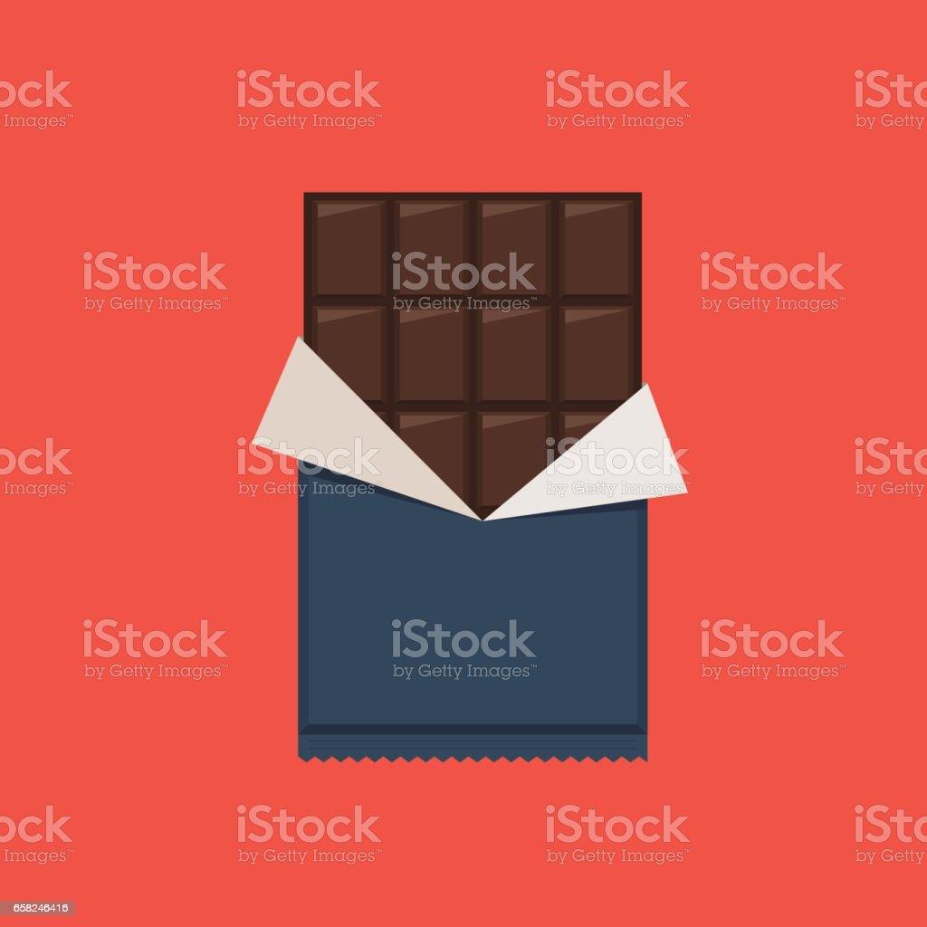 Barra de chocolate, envoltório de polietileno - ilustração de arte em vetor