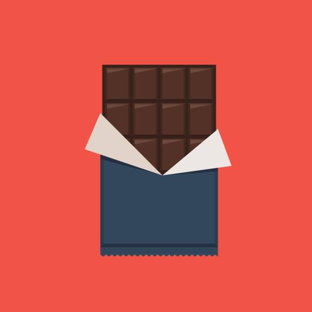 stockillustraties, clipart, cartoons en iconen met chocoladereep, polyethyleen wrap - pure chocola