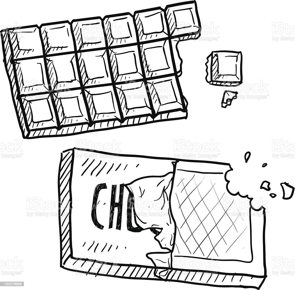 Chocolate bar sketch vector art illustration