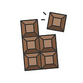 istock chocolate bar, sweets and pastry set, filled outline icon 1011038838