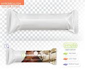 Chocolate bar, white polyethylene packaging. Hyperrealism vector style simple application