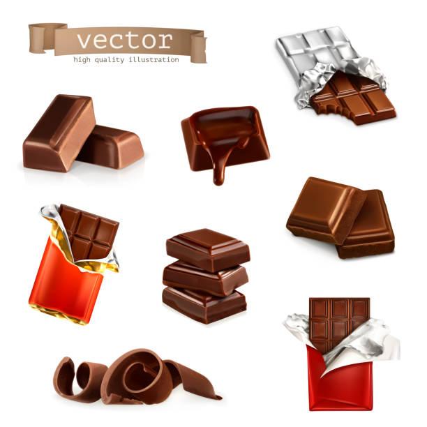 초콜릿 바 및 수량 - 초콜릿 stock illustrations