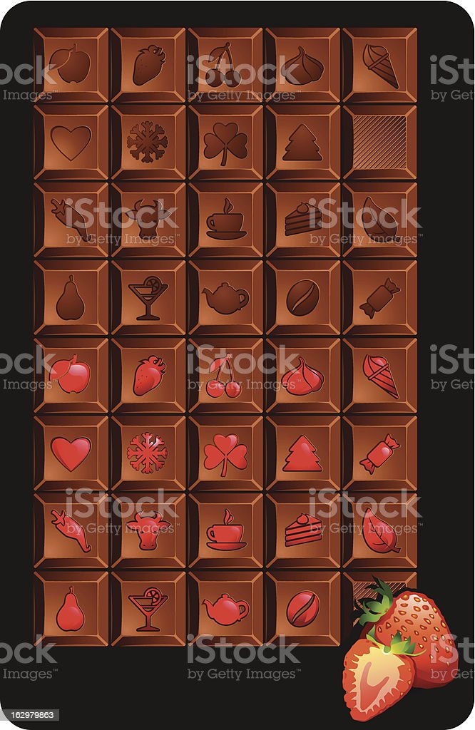 chocolate bars' set with icons of food and holidays. royalty-free stock vector art