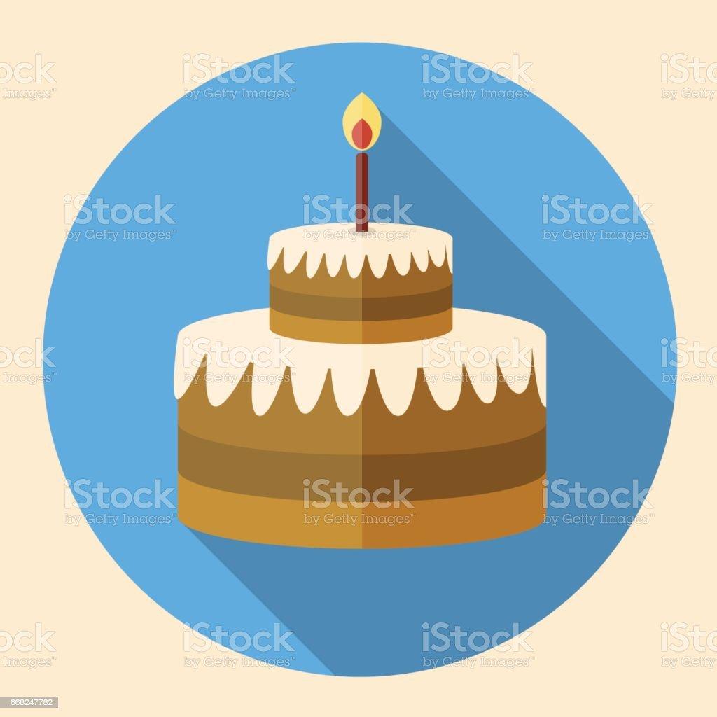 Chocolate Birthday Cake Flat Icon With Long Shadow Stock Vector Art
