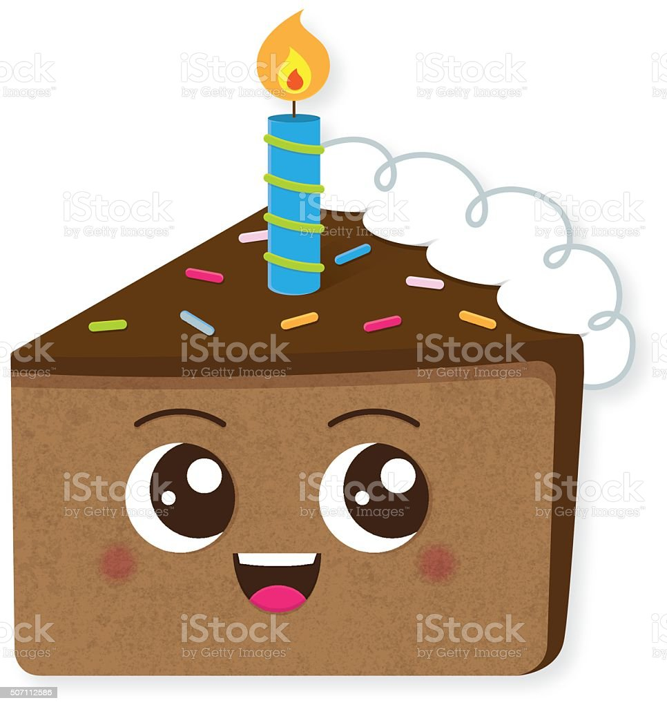 Chocolate Birthday Cake slice character with candle vector art illustration