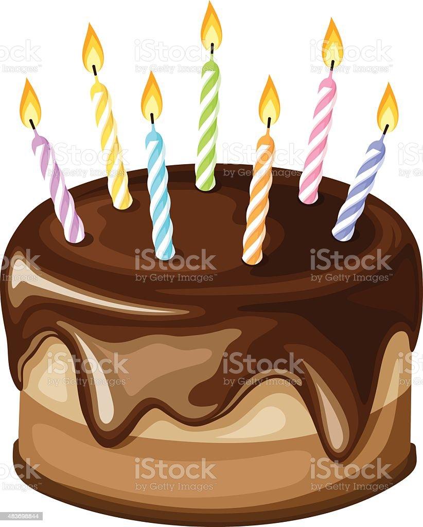 Chocolat Gâteau d'anniversaire avec bougies. illustration vectorielle. - Illustration vectorielle